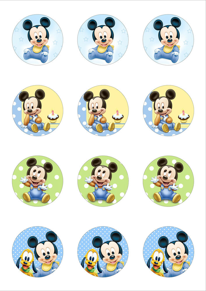 12 Cute Baby Mickey Mouse Edible Wafer / Rice Paper ...Mickey Mouse Cupcake Toppers