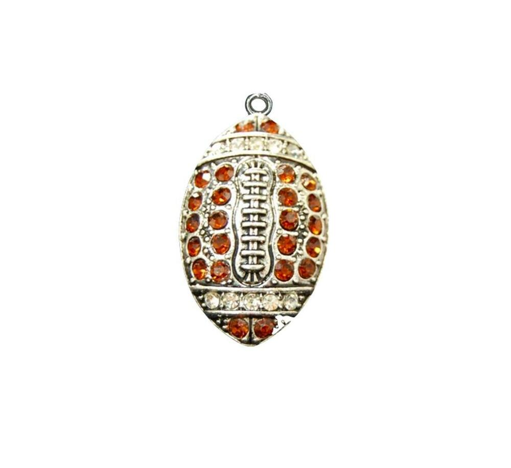 Football brown crystal charm only jewelry assembly beads for Craft and jewelry supplies