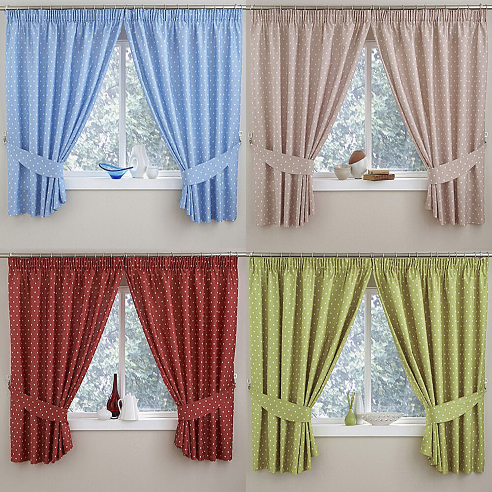 Blue Green Kitchen Curtains: Polka Dot Thermal Kitchen Tape Top Curtains In Blue, Green