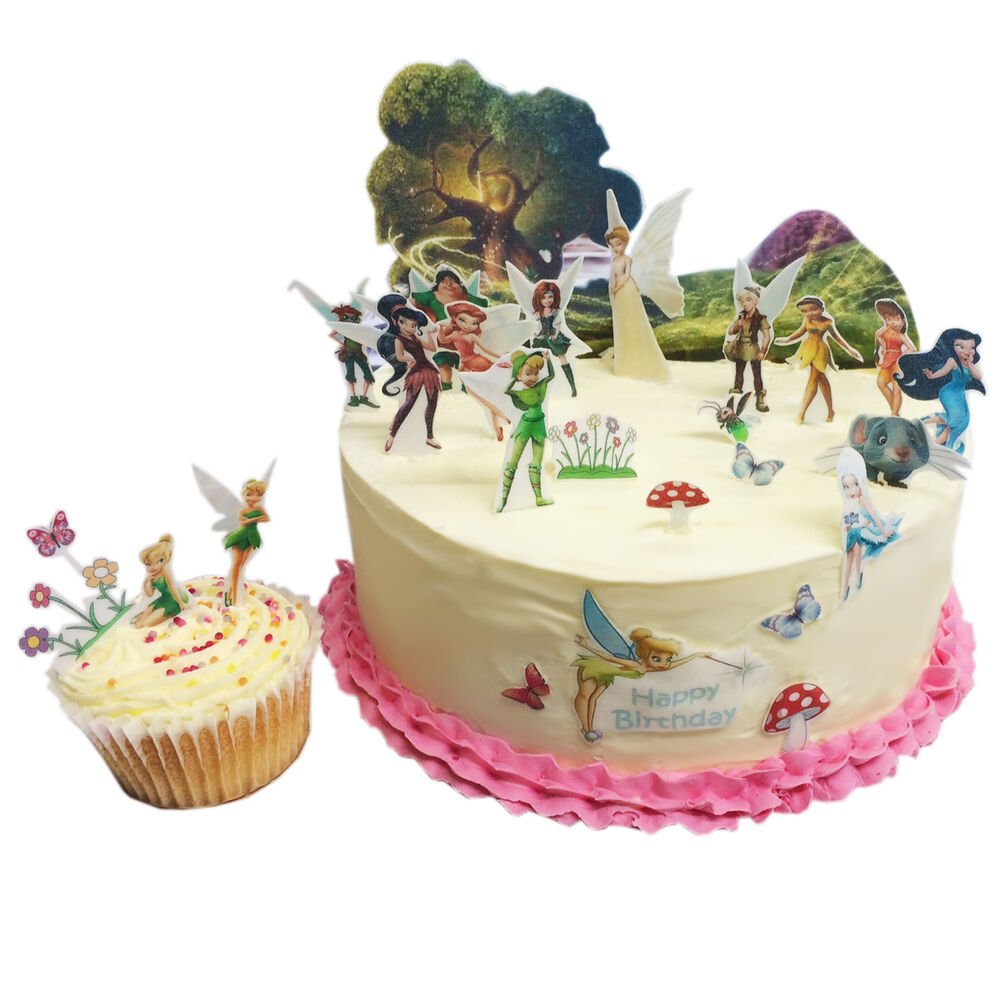 Tinkerbell pixie hollow birthday scene edible premium for How to make edible cake decorations at home