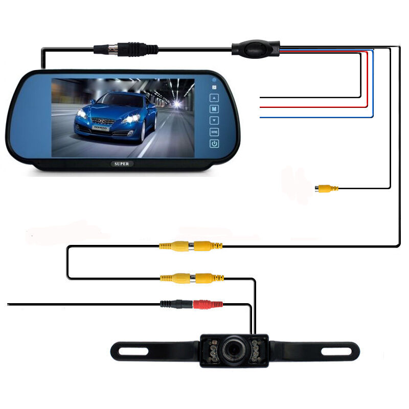 7 lcd monitor rear view mirror car reverse backup camera night vision wired kit ebay. Black Bedroom Furniture Sets. Home Design Ideas