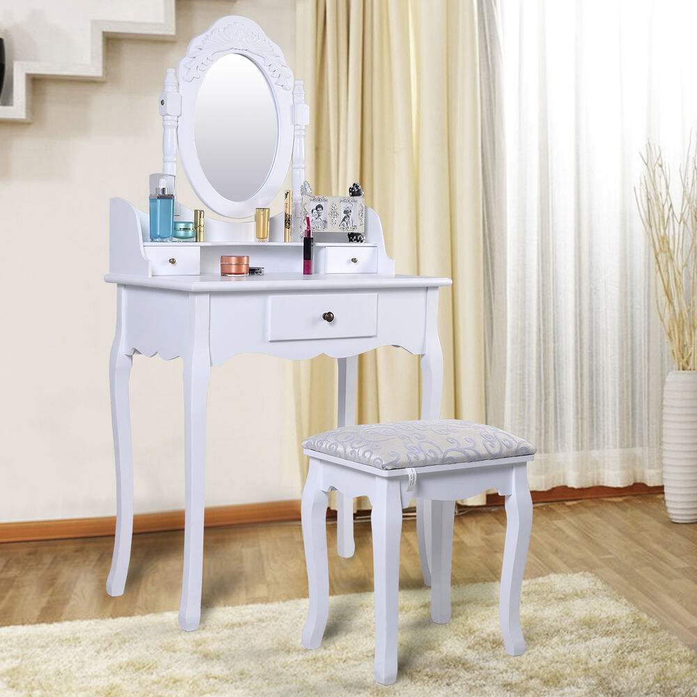 Small Bedroom Stool White Dressing Table Set With Adjustable Oval Mirror Padded