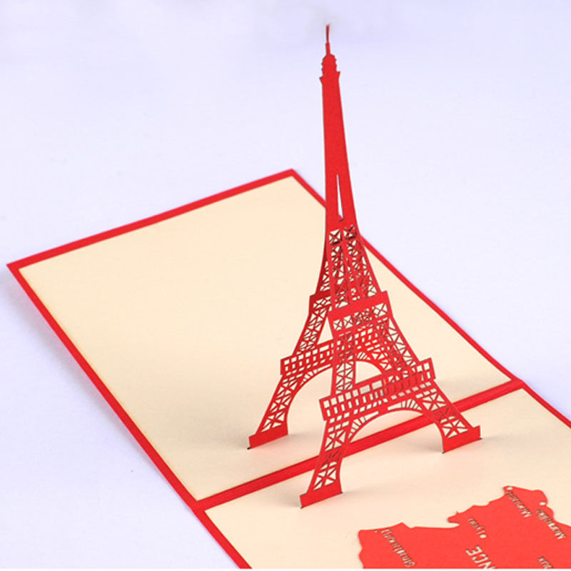 3d eiffel tower greeting card paris tower pop up card lovely greeting card ebay. Black Bedroom Furniture Sets. Home Design Ideas