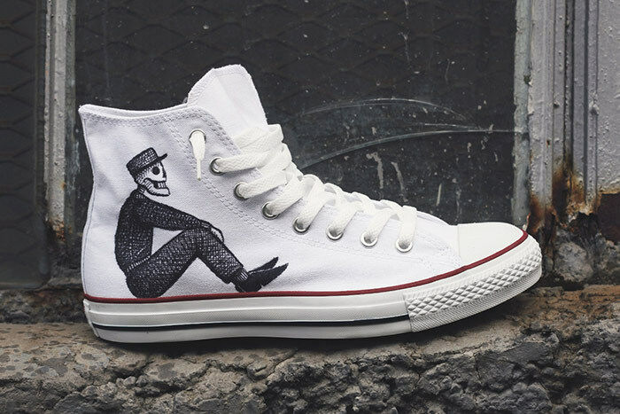 Converse All Star Custom Skeleton Crew HANDMADE painted disegnate a mano