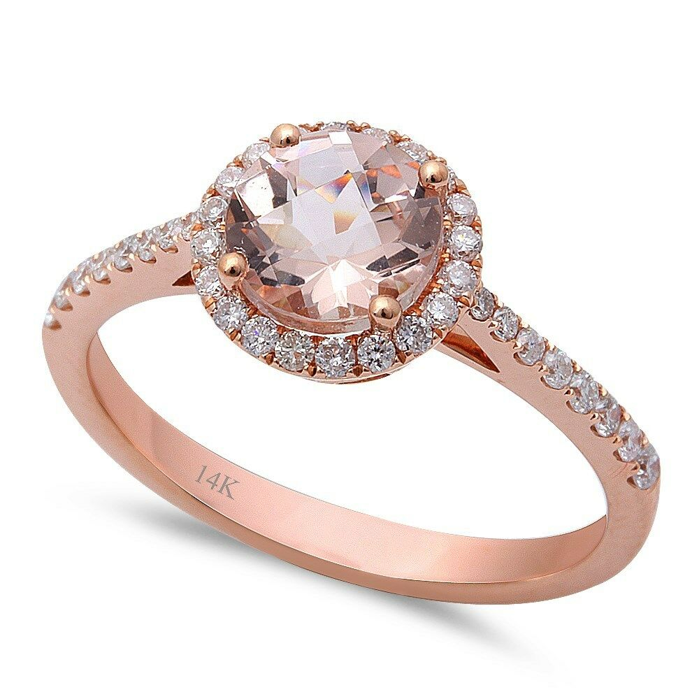 f vs morganite round diamond 14kt rose gold engagement ring size 6 5 ebay. Black Bedroom Furniture Sets. Home Design Ideas