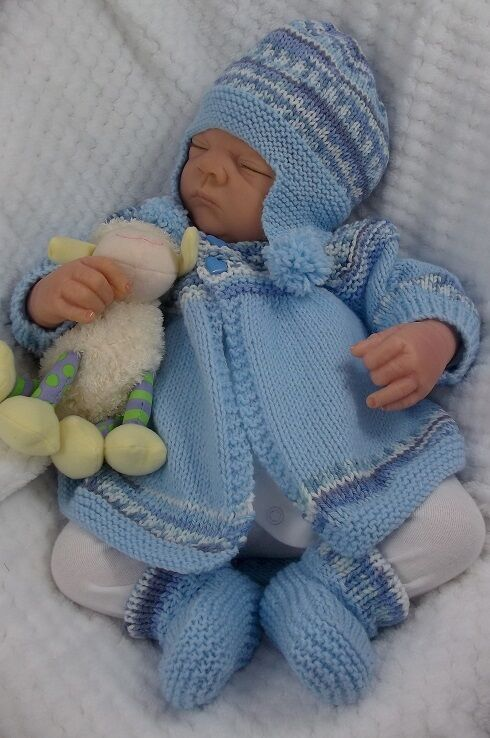 Baby Knitting Pattern DK #57 TO KNIT Matinee Cardigan Hat Bootees Reborn Doll...
