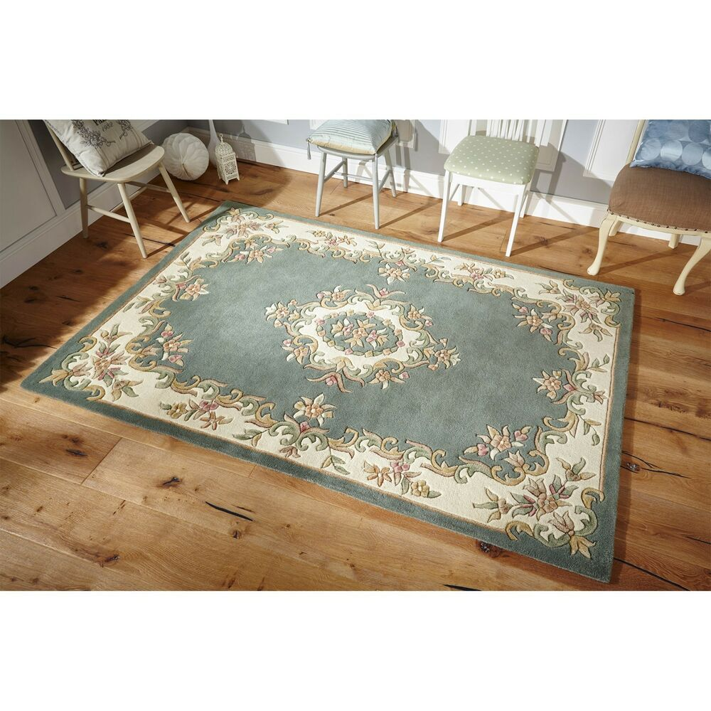Royal Aubusson Green Wool Rug In Various Sizes Half Moon