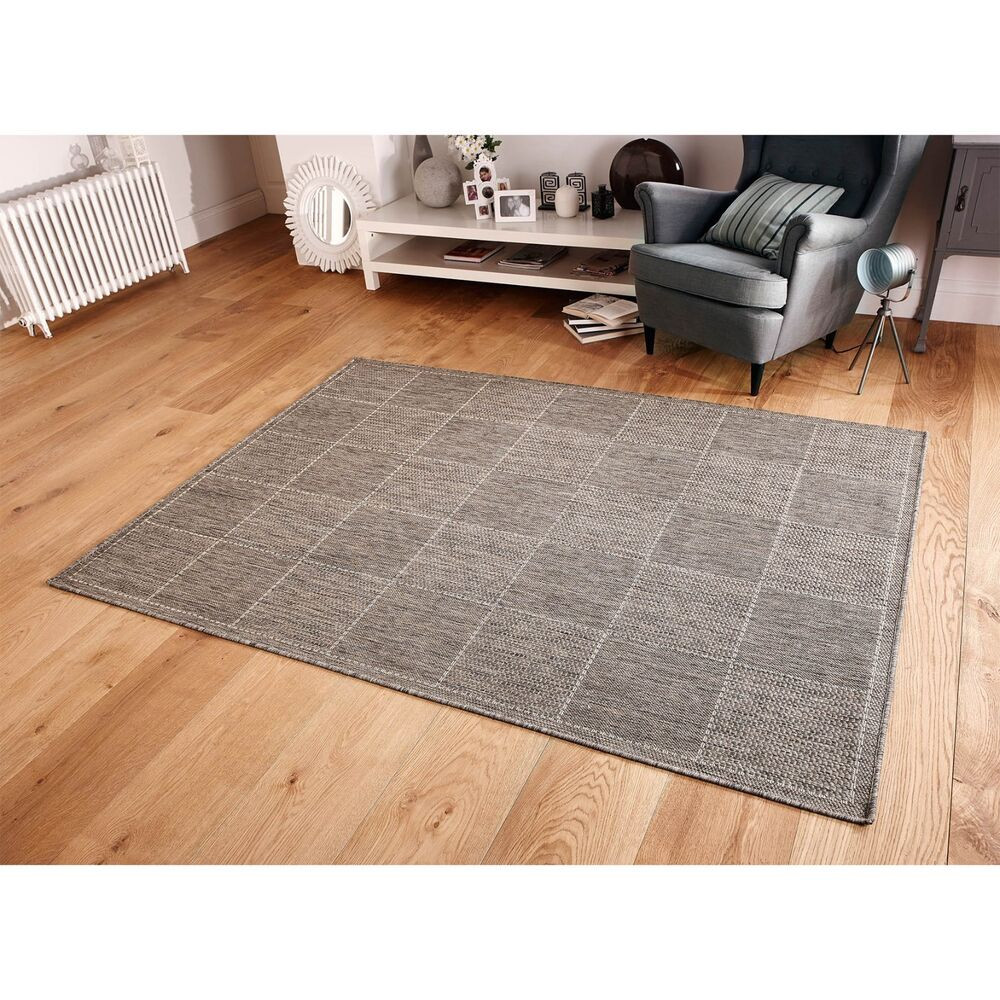 Checked Black Grey Rug: Grey Checked Flatweave Kitchen Rugs AND Runners Anti Slip