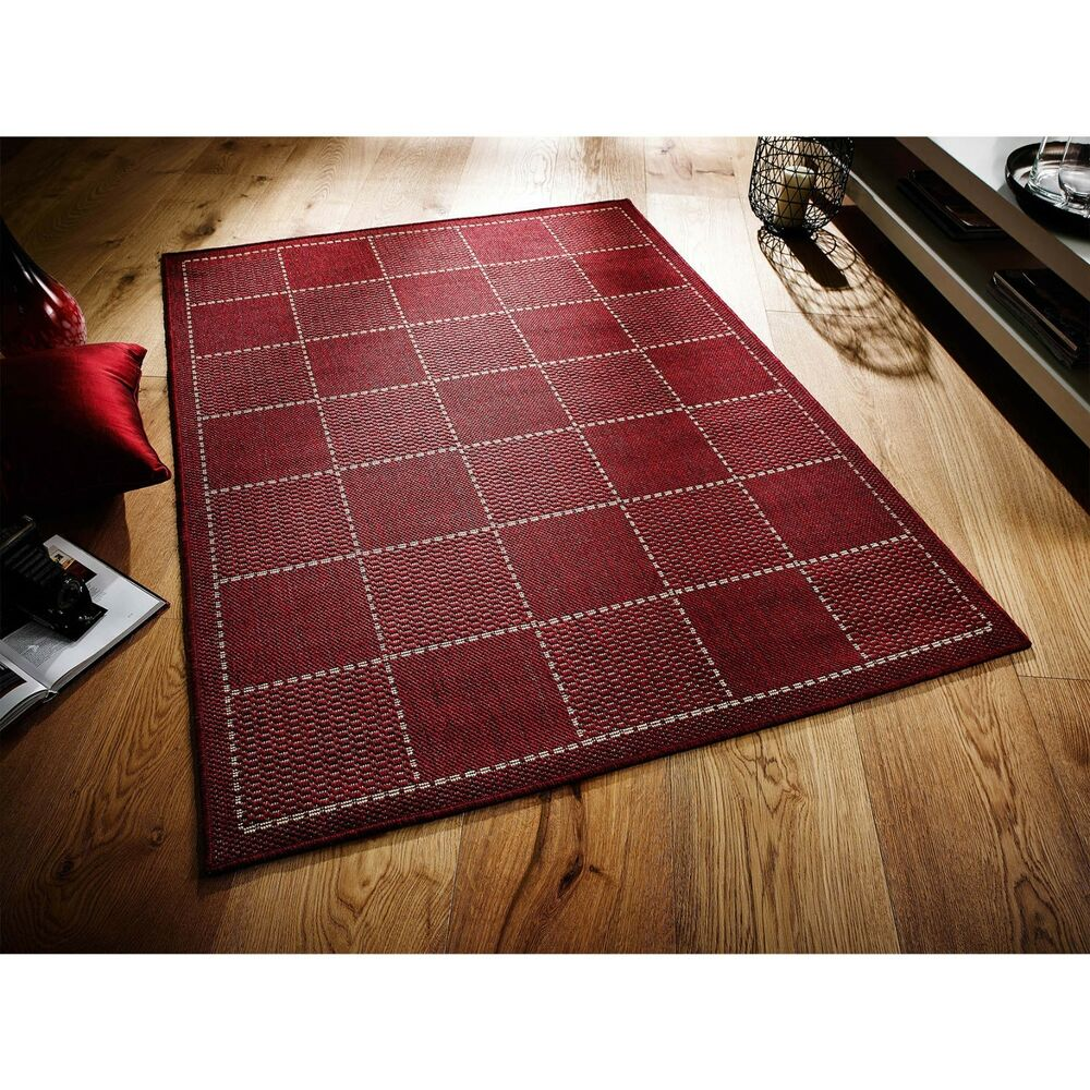 RED CHECKED FLATWEAVE KITCHEN RUGS RUNNERS ANTI SLIP