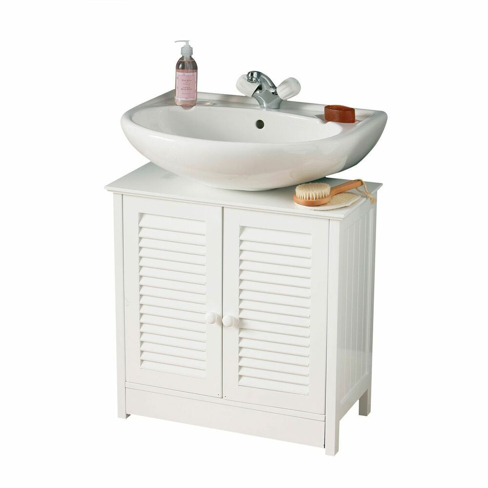 Shutter Doors Under Sink Bathroom Storage Cabinet White Woodden Unit Brand New
