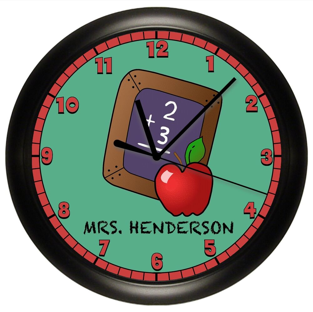 school teacher wall clock personalized gift classroom. Black Bedroom Furniture Sets. Home Design Ideas