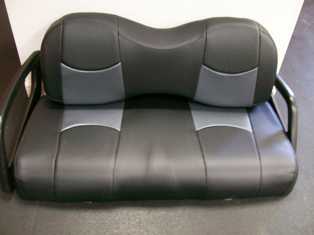 club car ds 39 00 up golf cart front seat replacement covers set blk gry cf ebay. Black Bedroom Furniture Sets. Home Design Ideas