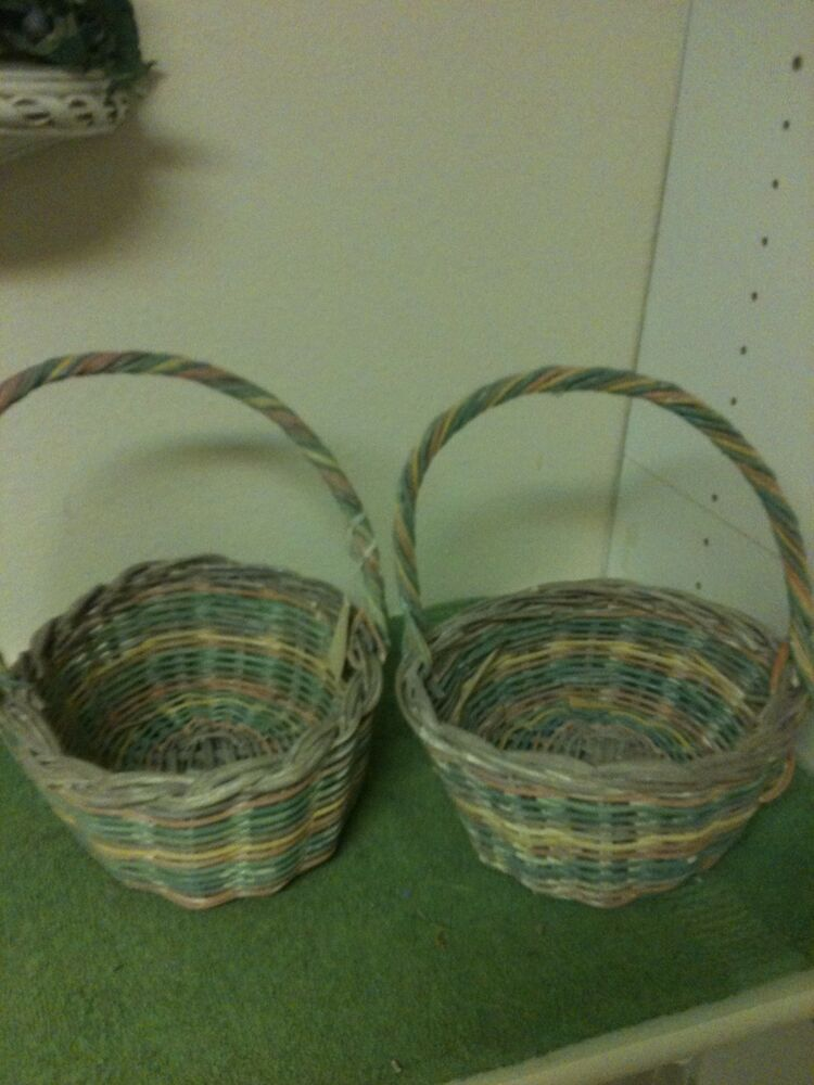 2 Multi Color Oval Wicker Basket With Handles Ebay
