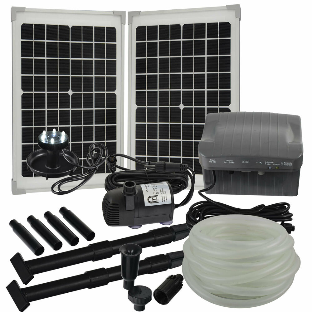 solar bachlaufpumpe set mit akku led 9m schlauch wasserfall bachlauf pumpe ebay. Black Bedroom Furniture Sets. Home Design Ideas