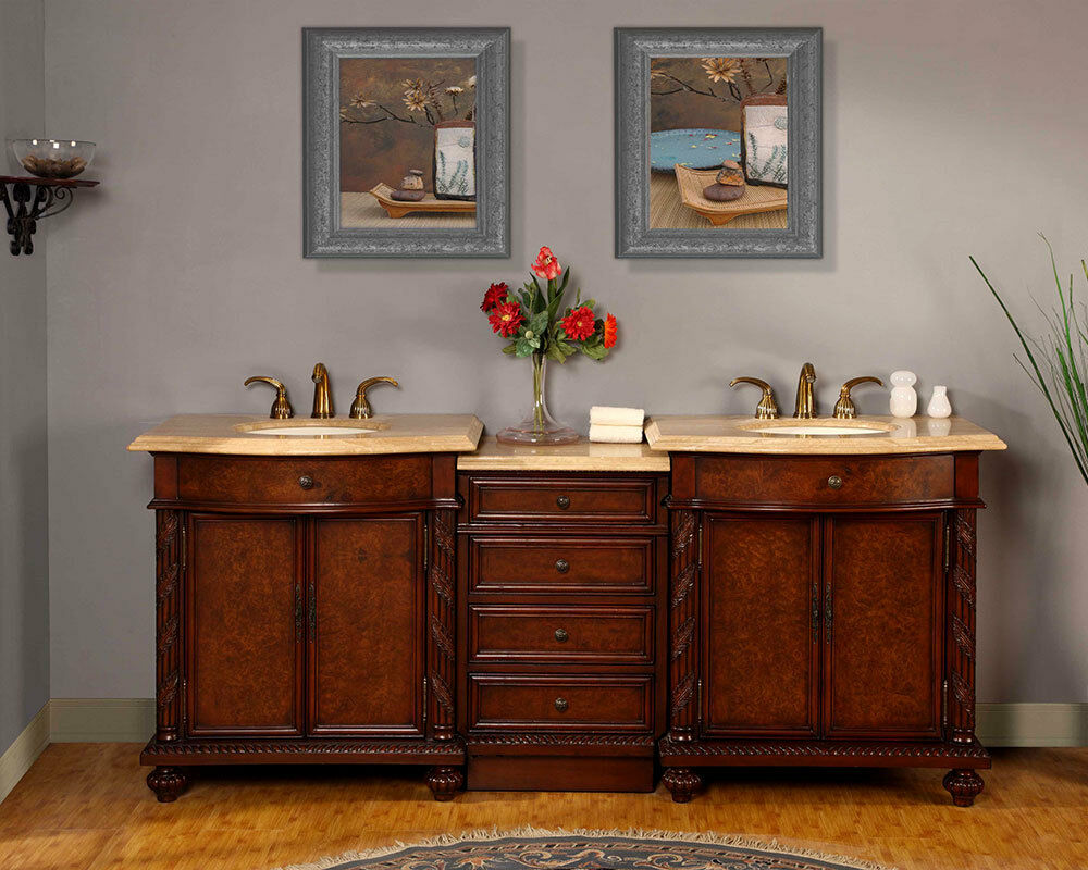 84 inch bathroom travertine top double sink led lighted vanity cabinet