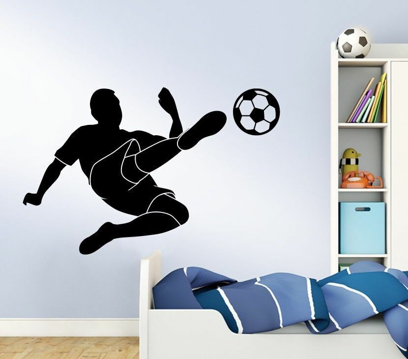 wandtattoo wandsticker wandaufkleber kinderzimmer fu ballspieler fu ball w1214 ebay. Black Bedroom Furniture Sets. Home Design Ideas