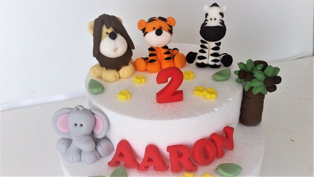 Edible jungle animals birthday cake topper decoration name for Animal cake decoration