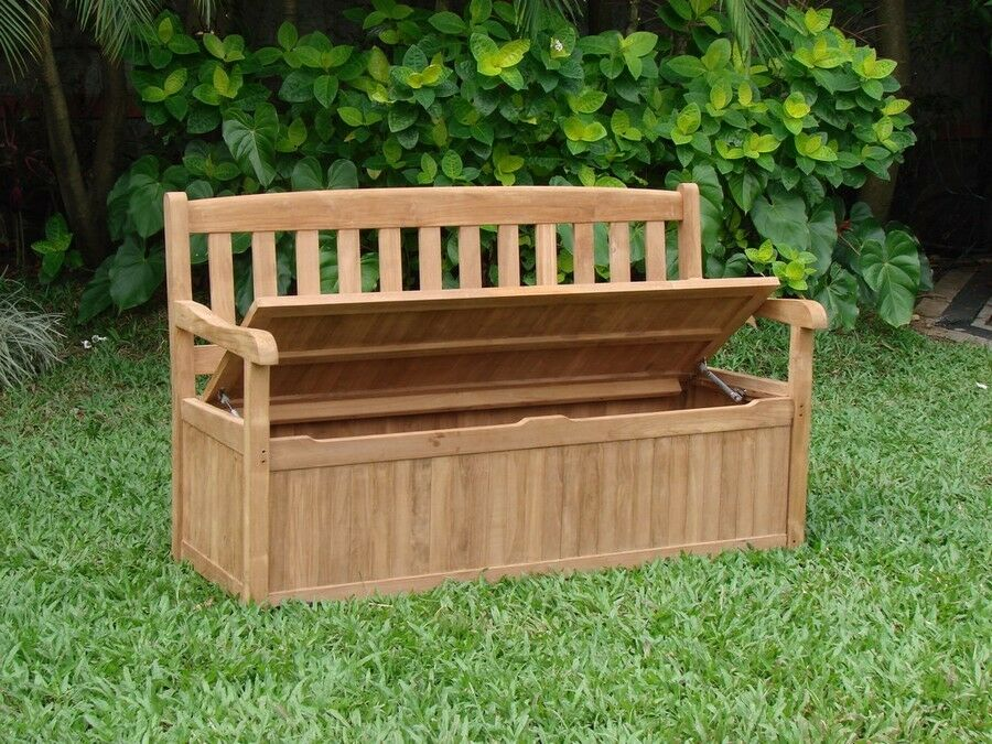 5 Feet Outdoor Patio Teak Garden Bench W Storage Box