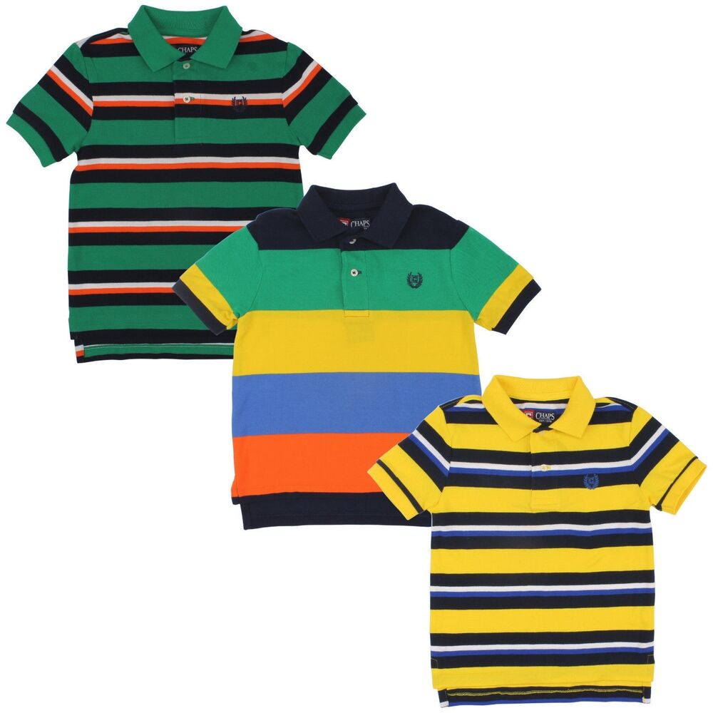 Chaps Striped Polo Shirt for Boys - Kids Youth Green Yellow Top | eBay
