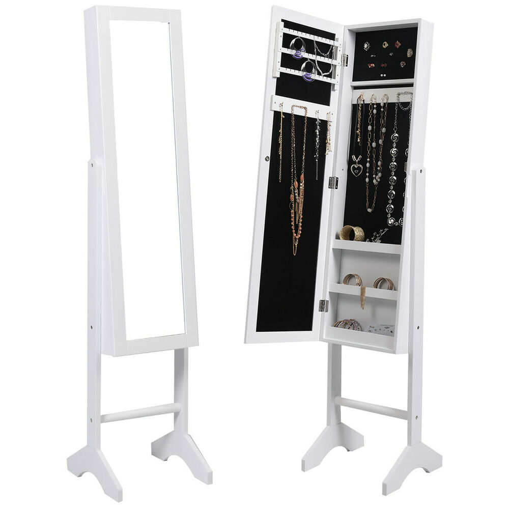 White mirrored jewelry cabinet armoire mirror organizer for Mirror jewelry storage