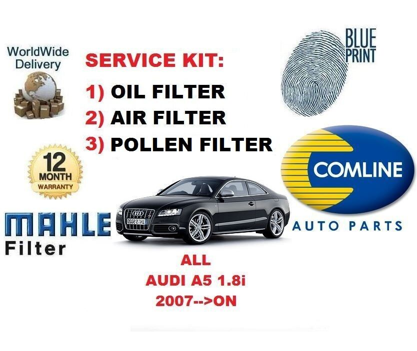 For audi a5 1 8 coupe cabriolet sport 2007 on oil air pollen filter service kit ebay Audi a5 motor oil