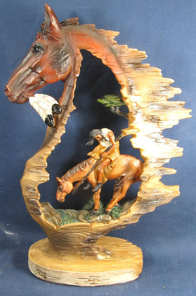 Horse and rider trails end western or native american for South american decor