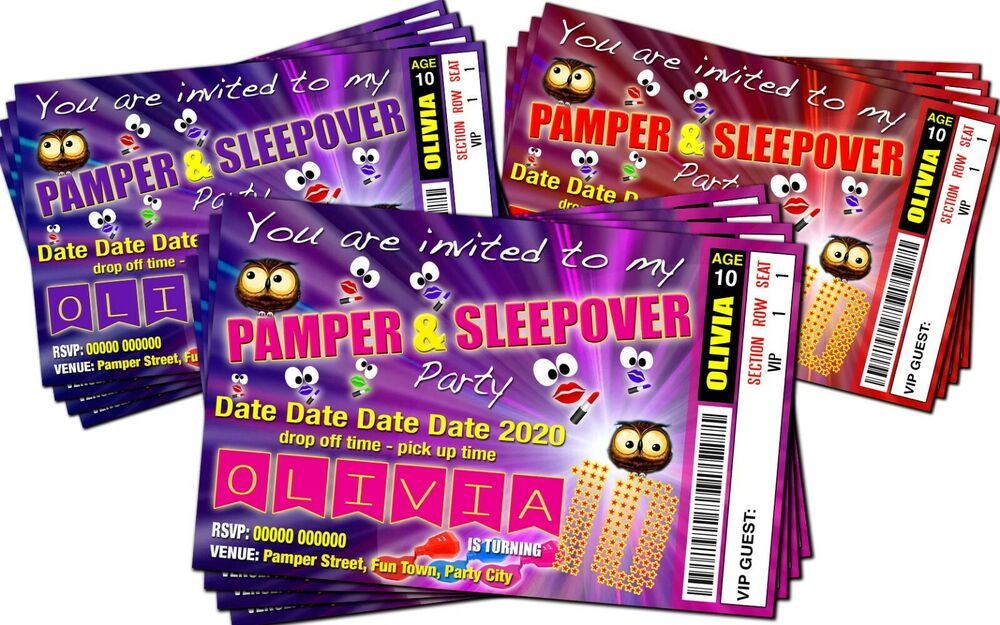 Details About BIRTHDAY PARTY INVITATIONS Sleepover Pamper Theme Personalised Ticket Style
