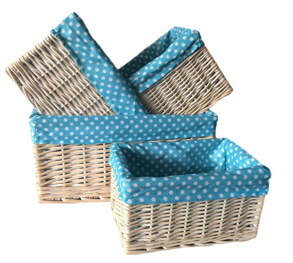 Willow Wicker Storage Basket With Liner For Home: White Wash Wicker Lined Storage Basket Rectangular Willow