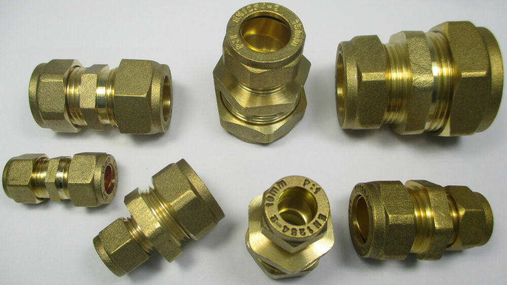 Brass compression fittings reducing coupler coupling