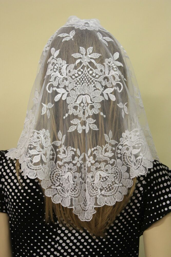 Ivory Spanish style veils and mantilla Catholic church ...