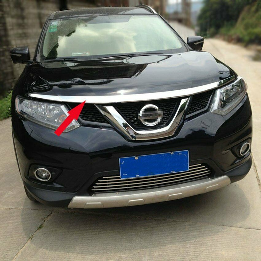 abs front hood grill cover bonnet trim fit for nissan x trail rogue 2014 2017 ebay. Black Bedroom Furniture Sets. Home Design Ideas
