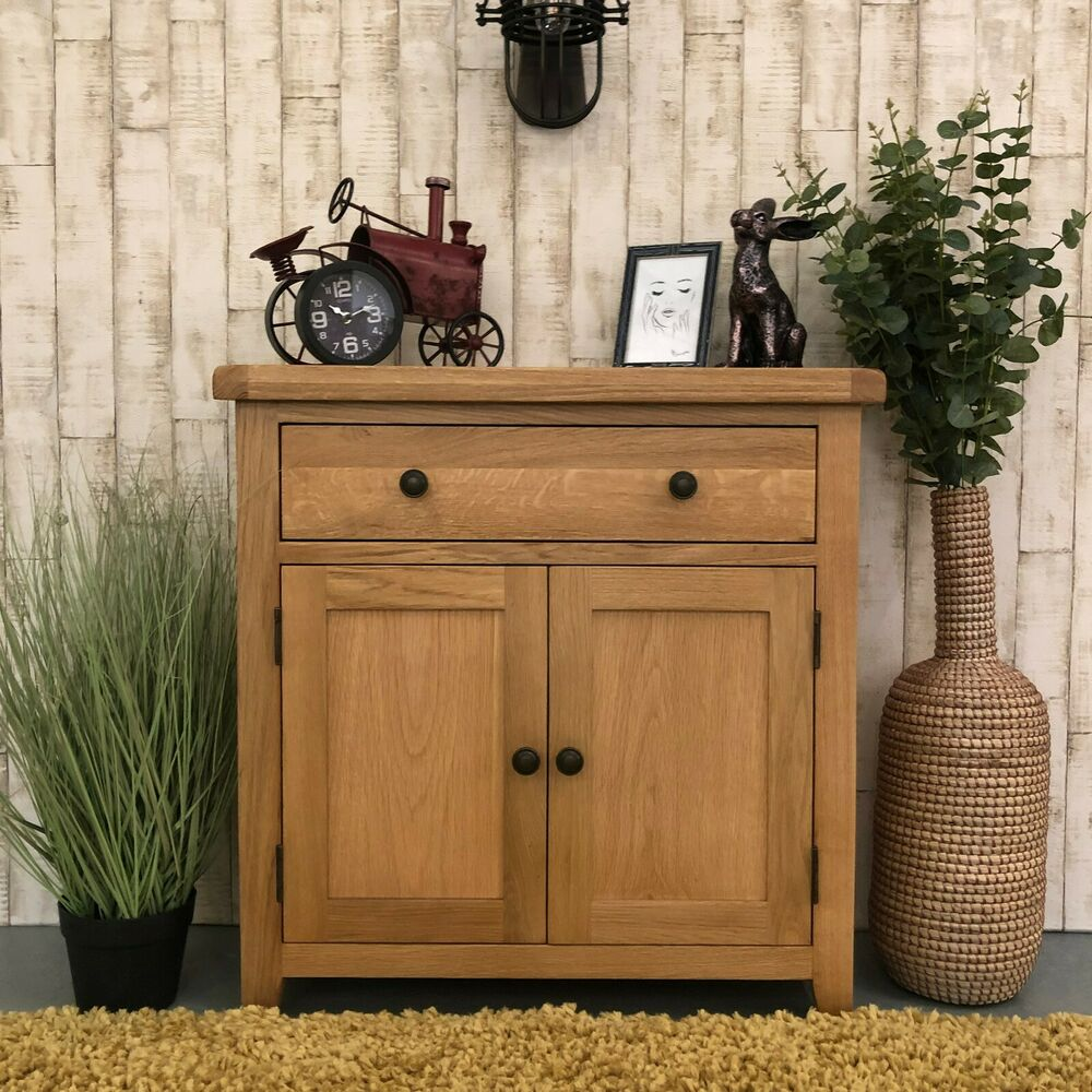 beaufort oak mini sideboard small storage cupboard rustic kitchen ebay. Black Bedroom Furniture Sets. Home Design Ideas