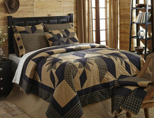 New 3pc Dakota Star Primitive Quilted Bedding Set By Vhc