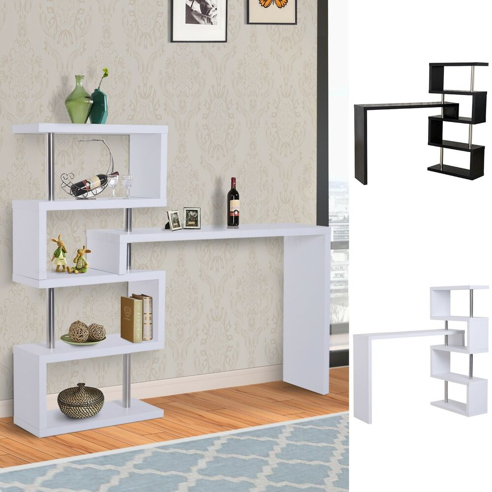 Modern bar table high gloss pivot counter storage display wooden shelf ebay - Wooden bar counters for home ...