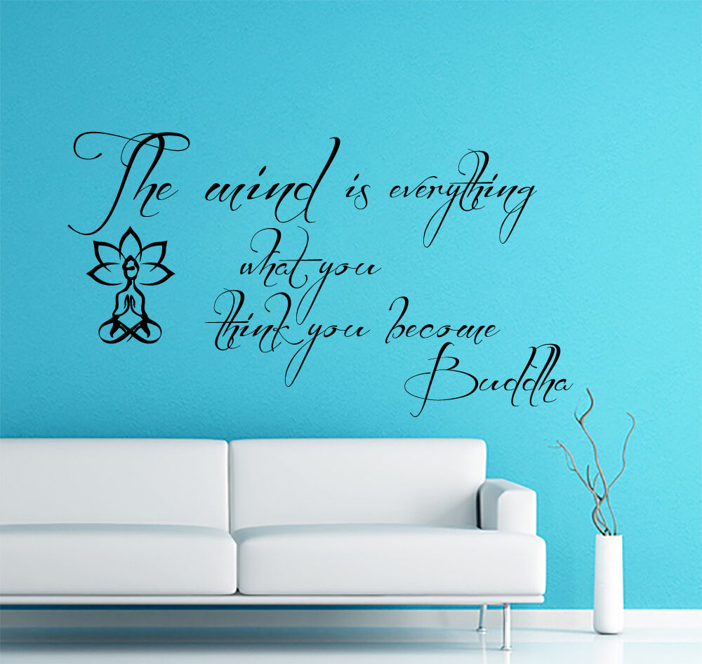Wall decals quote the mind is everything buddha yoga home decor vinyl