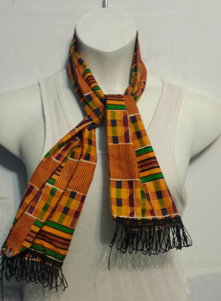 African Kente Cloth Neck Head Scarf Scarves Tie Wrap ...