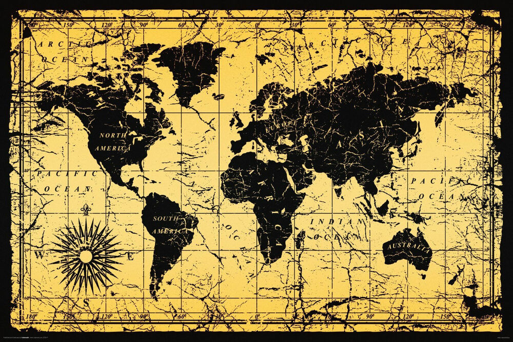 vintage style world map poster 24 x 36 antique. Black Bedroom Furniture Sets. Home Design Ideas