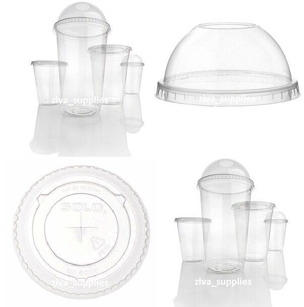SMOOTHIE CUPS With LIDS(10oz)Disposable Clear Plastic Pots