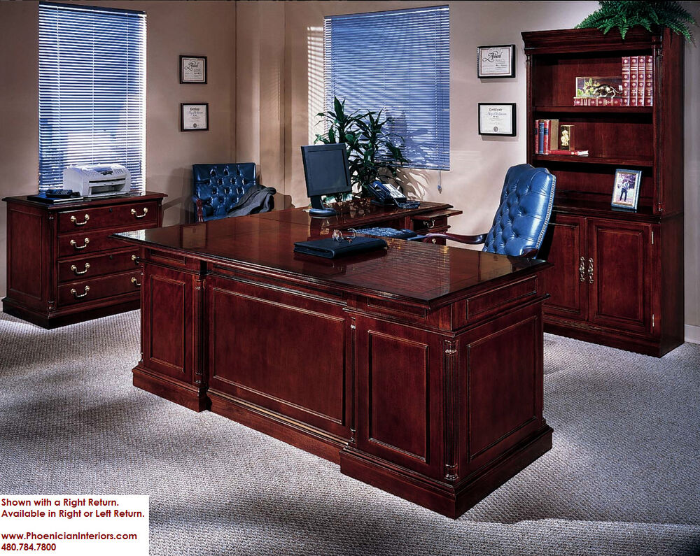 Executive Office Furniture: Executive L Shaped Desk With Overhang CHERRY And WALNUT