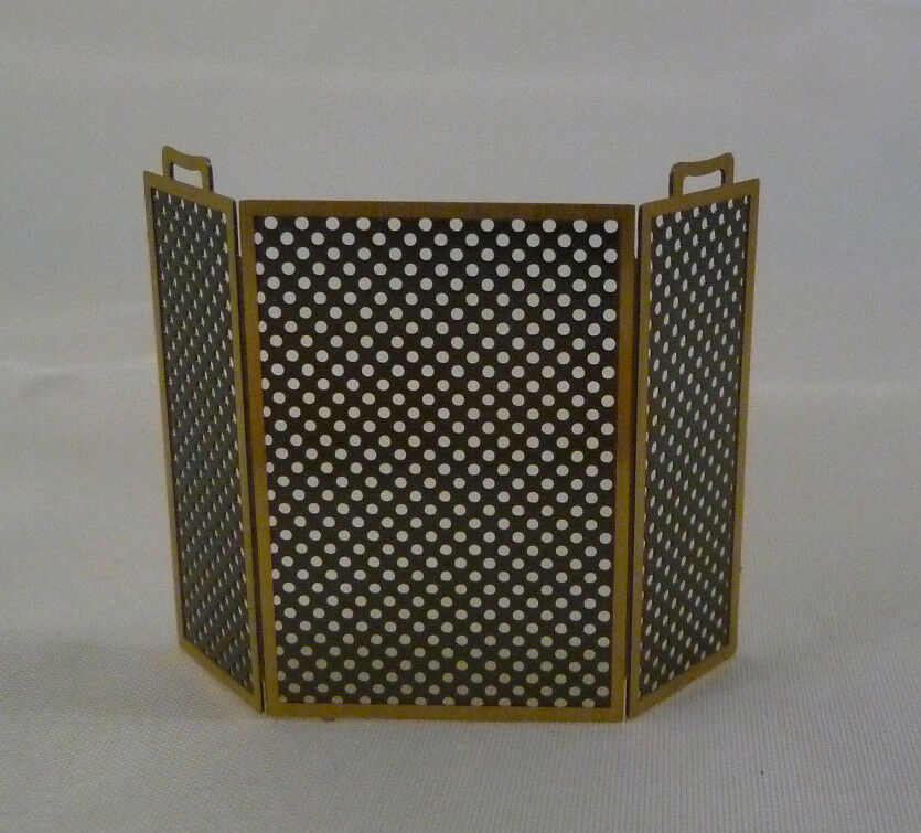 1  24th or 1  2 scale miniature dollhouse black metal black metal mesh fireplace screen Metal Fireplace Screen with Two Handles On the Front Black