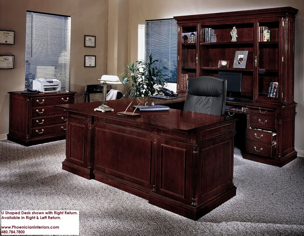 Executive U Shaped Desk With Overhang Cherry And Walnut