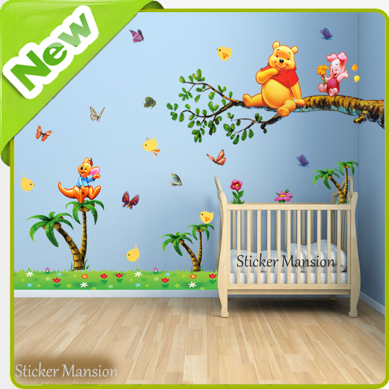 winnie the pooh wall stickers animal jungle nursery baby kids room decal art ebay. Black Bedroom Furniture Sets. Home Design Ideas