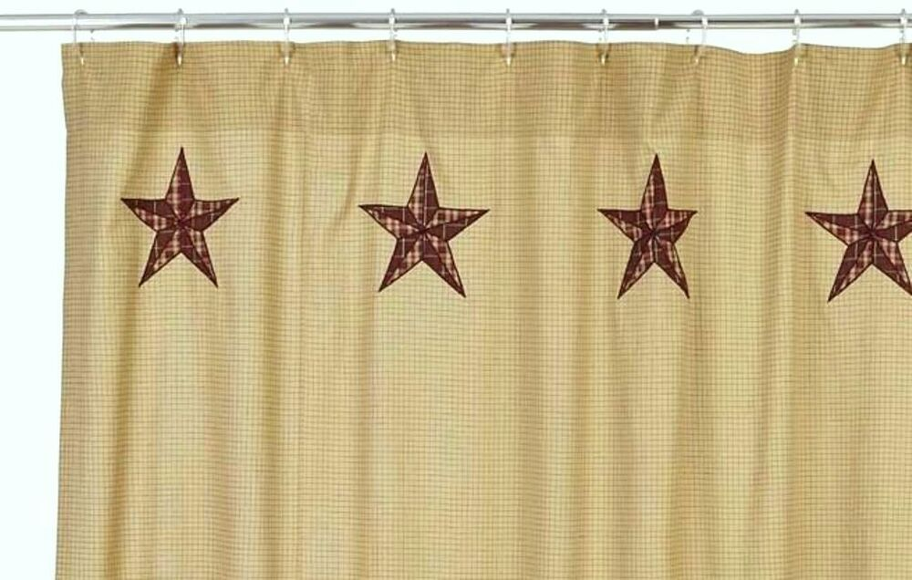 Lone star shower curtain cabin rustic country red tan brown plaid