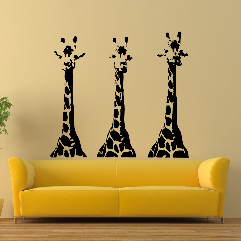 Wall vinyl decals giraffe animals jungle safari decal for Decor mural wall art
