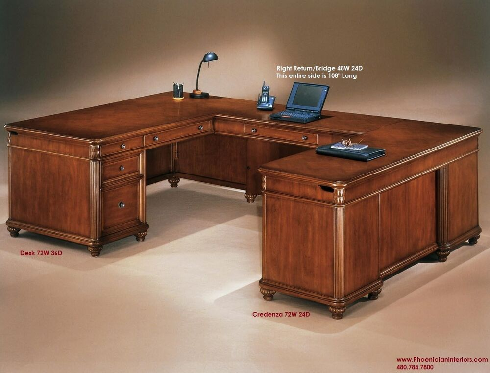Executive U Shaped Desk With Fancy Desktop Cherry Wood