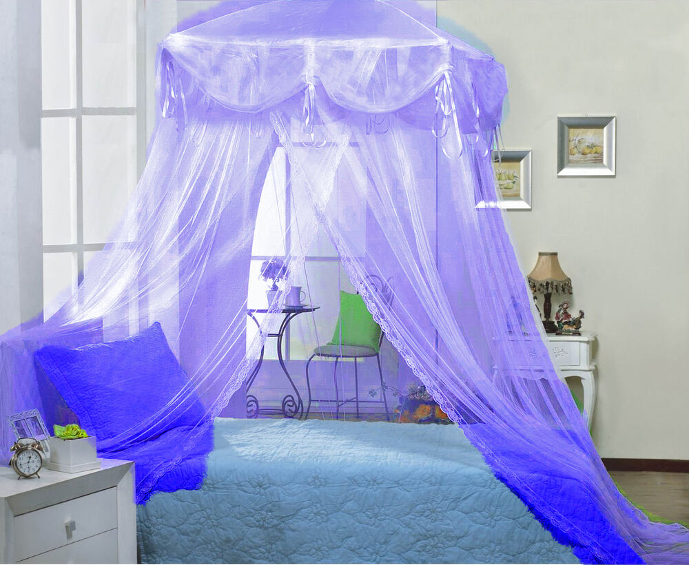 Purple four point bed canopy mosquito net fits twin full for Rectangle bed canopy