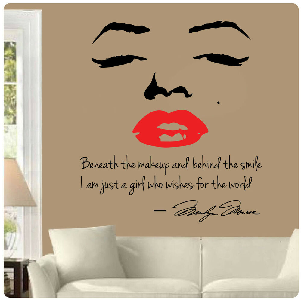 Marilyn monroe wall decal decor quote face red lips makeup for Decoration quotes sayings