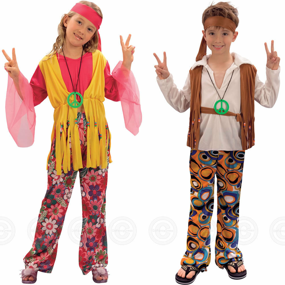 hippy girls boys fancy dress costume hippie 60s 1960s