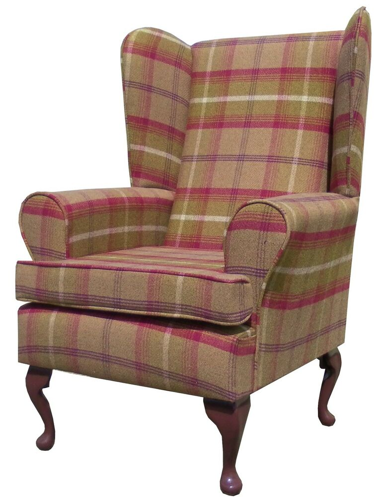Fireside Wing Back Queen Anne Chair Superior Luxury Brown