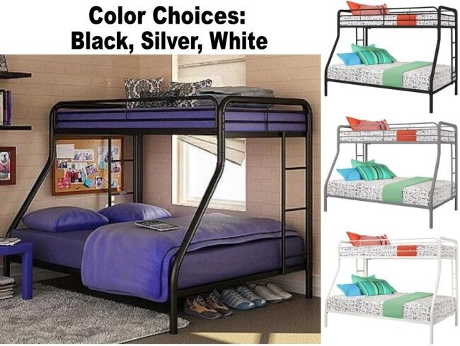 twin over full size metal bunk bed beds heavy duty sturdy kids bedroom furniture ebay. Black Bedroom Furniture Sets. Home Design Ideas